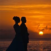 Wedding couple at sunset. Cozumel, Quintana Roo. Mexico.