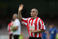 Photo: Pete Lorence.<br />Lincoln City v Rochdale United. Coca Cola League 2. 21/10/2006.<br />Man of the Match,  Lincoln's Jamie Forrester, celebrates after the match.