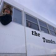 Polar Bear, (Ursus maritimus) Tourists on Tundra Buggy. Churchill, Manitoba. Canada.