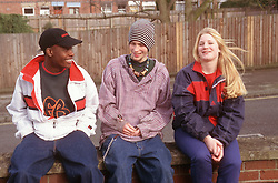 Multiracial group of youths sitting on brick wall smiling,