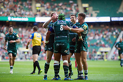London Irish players congratulates team-mate Ofisa Treviranus on his second half try - Mandatory byline: Patrick Khachfe/JMP - 07966 386802 - 02/09/2017 - RUGBY UNION - Twickenham Stadium - London, England - London Irish v Harlequins - Aviva Premiership