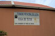 Terrero Municipal de Lucha, stadium building sign, Vega de Trtir, Fuerteventura, Canary Islands, Spain
