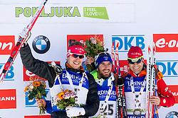 Emil Hegle Svendsen (NOR), Jean Guillaume Beatrix (FRA) and Ole Einar Bjoerndalen (NOR) after Men 15 km Mass Start at day 4 of IBU Biathlon World Cup 2015/16 Pokljuka, on December 20, 2015 in Rudno polje, Pokljuka, Slovenia. Photo by Urban Urbanc / Sportida