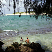 KAUAI, HI, July 15, 2007: Hikers and beach goers enjoy the solitude of the Heritage Trail, and a secluded cove near the South Shore's Mahaulepu Beach in Poipu on the  island of Kauai in Hawaii. (Photograph by Todd Bigelow/Aurora)