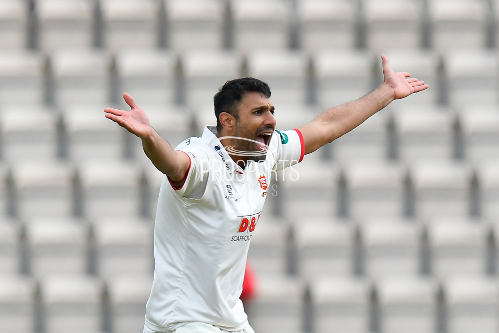 Wicket - Ravi Bopara of Essex sucessfully appeals for the wicket of James Vince of Hampshire out LBW during the first day of the Specsavers County Champ Div 1 match between Hampshire County Cricket Club and Essex County Cricket Club at the Ageas Bowl, Southampton, United Kingdom on 5 April 2019.