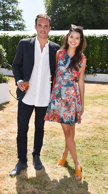 Viscount Erleigh and Sarah Ann Macklin at the 'Cartier Style et Luxe' enclosure during the Goodwood Festival of Speed, Goodwood House, West Sussex, England. 15 July 2018.