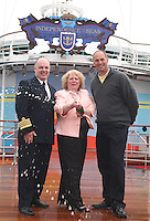 Royal Caribbean's Independence of the Seas...The worlds largest cruise ship, Independence of the Seas is named today in Southampton by Godmother Elizabeth Hill from Derbyshire...The Godmother was chosen following a nationwide search, led by Sir Steve Redgrave and Royal Caribbean's charity partner, the Steve Redgrave Fund, to find a woman who had done extraordinary work to improve the lives of young people...Pic shows - Captain Teo Strazicic, Godmother Elizabeth Hill and Sir Steve Redgrave...Queries pls phone Sarah Rathbone - 07967361511