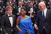 Vincent Rottiers, Kalieaswari Srinivasan, director Jacques Audiard,<br /> at the gala screening for the film Dheepan at the 68th Cannes Film Festival, Thursday May 21st 2015, Cannes, France.
