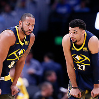 05 April 2018: Denver Nuggets guard Devin Harris (34) is seen next to Denver Nuggets guard Jamal Murray (27) during the Denver Nuggets 100-96 victory over the Minnesota Timberwolves, at the Pepsi Center, Denver, Colorado, USA.