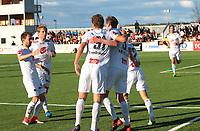 Fotball, NM 2.runde ,  <br /> 24.05.17<br /> Nammo Stadion<br /> Raufoss v Sogndal  0-2<br /> Foto : Dagfinn Limoseth , Digitalsport<br /> <br /> Henrik Luggenes Furebotn , Eirik Birkelund , Ulrik Tillung Fredriksen og Taijo Teniste gratulerer Espen Næss Lund , Sogndal