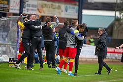 Partick Thistle's bench cele after Lewis Mansell scored their third goal. Dundee 1 v 3 Partick Thistle, Scottish Championship game player 19/10/2019 at Dundee stadium Dens Park.
