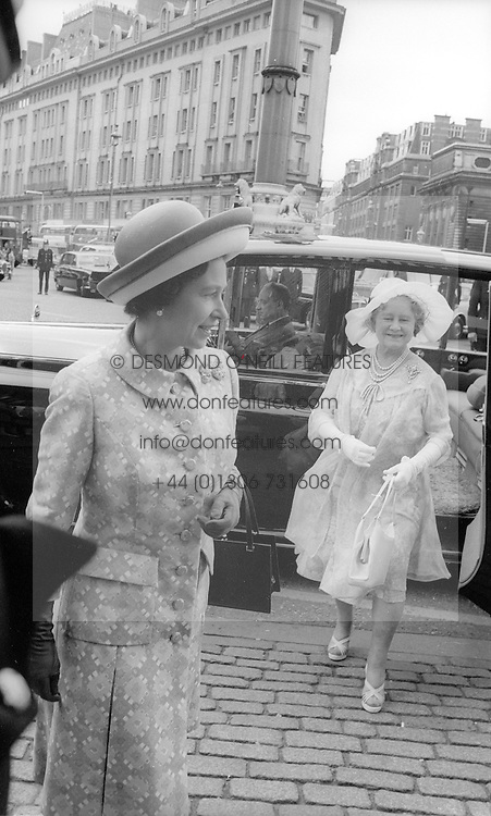 HM The Queen Elizabeth 11 and HRH Queen Elizabeth the Queen Mother attend the wedding of Sir Geoffrey Shakerley and Lady Elizabeth Anson at Westminster Abbey, London on 27th July 1972.