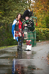Miss Scotland Jennifer Reochs with piper Danny Sweeney at Crieff Hydro..MISS WORLD 2011 VISITS SCOTLAND..Pic © Michael Schofield.