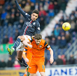 Falkirk's Nathan Austin over Dundee United's Stewart Murdoch. Falkirk 3 v 0 Dundee United, Scottish Championship game played 11/2/2017 at The Falkirk Stadium.