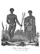 Caffres [Kaffirs] Aborigines of Caffraria [Kaffraria was the descriptive name given to the southeast part of what is today the Eastern Cape of South Africa. Kaffraria, i.e. the land of the Kaffirs, is no longer an official designation (with the term kaffir now an offensive racial slur in South Africa).]  Copperplate engraving From the Encyclopaedia Londinensis or, Universal dictionary of arts, sciences, and literature; Volume III;  Edited by Wilkes, John. Published in London in 1810