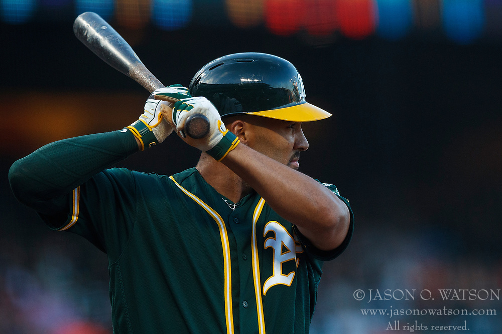 SAN FRANCISCO, CA - JULY 13: Chad Pinder #18 of the Oakland Athletics at bat against the San Francisco Giants during the first inning at AT&T Park on July 13, 2018 in San Francisco, California. The San Francisco Giants defeated the Oakland Athletics 7-1. (Photo by Jason O. Watson/Getty Images) *** Local Caption *** Chad Pinder