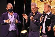 Claudio Zuccolini, Michael Mittermeier und Moderator des Abends Stefan Büsser (v.l.n.r.). Verleihung der Swiss Comedy Awards am 20. September 2020 im Bernhard Theater Zürich.