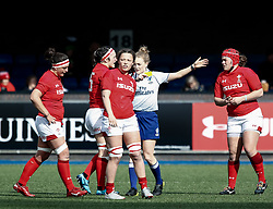 Todays referee, Hollie Davidson  shows the yellow card to Siwan Lillicrap of Wales<br /> <br /> Photographer Simon King/Replay Images<br /> <br /> Six Nations Round 5 - Wales Women v Ireland Women- Sunday 17th March 2019 - Cardiff Arms Park - Cardiff<br /> <br /> World Copyright © Replay Images . All rights reserved. info@replayimages.co.uk - http://replayimages.co.uk