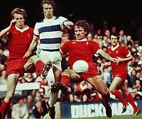Tommy Smith(Liverpool)Joey Jones(Liverpool)Left.Peter Eastoe(Queens park rangers)7/5/77 Queens Park Rangers v Liverpool.Credit:Colorsport