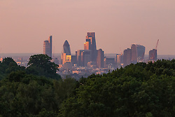 Hampstead Heath, London, July 20th 2016. Seen from Hampstead Heath in North London, the first rays of the sun illuminate the skyscrapers in The City. ©Paul Davey<br /> FOR LICENCING CONTACT: Paul Davey +44 (0) 7966 016 296 paul@pauldaveycreative.co.uk