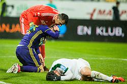 Players injured during football match between NK Maribor and NK Olimpija Ljubljana in 2nd leg match in Quaterfinal of Slovenian cup 2017/2018, on November 29, 2017 in Ljudski vrt, Maribor, Slovenia. Photo by Ziga Zupan / Sportida