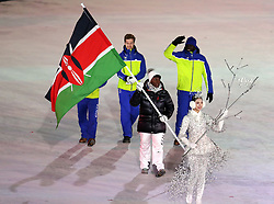 Members of the Kenyan team during the Opening Ceremony of the PyeongChang 2018 Winter Olympic Games at the PyeongChang Olympic Stadium in South Korea.