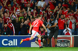 Ben Woodburn of Wales celebrates scoring a goal - Mandatory by-line: Dougie Allward/JMP - 02/09/2017 - FOOTBALL - Cardiff City Stadium - Cardiff, Wales - Wales v Austria - FIFA World Cup Qualifier 2018