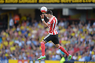 Jose Fonte, the Southampton captain heads the ball . Barclays Premier League, Watford v Southampton at Vicarage Road in London on Sunday 23rd August 2015.<br /> pic by John Patrick Fletcher, Andrew Orchard sports photography.