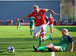 YSTRAD MYNACH, WALES - Wednesday, April 5, 2017: Wales' Jessica Fishlock is tackled by Northern Ireland's Ashley Hutton during the Women's International Friendly match at Ystrad Mynach. (Pic by Laura Malkin/Propaganda)