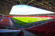 A wide view of the stadium before the EFL Sky Bet League 1 match between Doncaster Rovers and Coventry City at the Keepmoat Stadium, Doncaster, England on 4 May 2019.