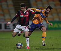 \be29\ in action with Mansfield Town's Stephen McLaughlin<br /> <br /> Photographer Mick Walker/CameraSport<br /> <br /> The EFL League 2 - Mansfield Town v Bolton Wanderers  - Wednesday 17th February  2021 - One Call Stadium-Mansfield<br /> <br /> World Copyright © 2020 CameraSport. All rights reserved. 43 Linden Ave. Countesthorpe. Leicester. England. LE8 5PG - Tel: +44 (0) 116 277 4147 - admin@camerasport.com - www.camerasport.com
