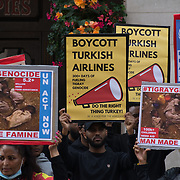 """2021-09-13 Chancery Lany, London, UK. Tigray Famine and Anti-Turkish Drones sale 6 million under seige, 900,000 in famine, no communication, no medical suplies, hundreds already dead. Protestors call United Nation send humanitarian aid to Tigray. The whole world still in sleep, the louder the cry for democracy, human rights, freedom """"divide and conquer"""" you will suffer, pay a very high price."""