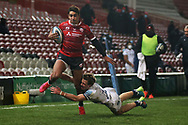 Gloucester Rugbys Santiago Carreras SCORES HIS SECOND TRY  during the Gallagher Premiership Rugby match between Gloucester Rugby and Bristol Rugby at the Kingsholm Stadium, Gloucester, United Kingdom on 12 February 2021.