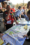 the command post during the wildfire in the city of Haifa, Israel in November 2016