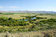 View of Silver Creek from the road above the Visitor Center at the Nature Conservancy Silver Creek Preserve in Idaho