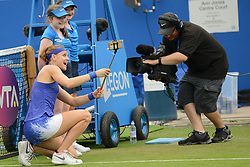 June 21, 2017 - Birmingham, England - LUCIE SAFAROVA of the Czech Republic after winning her second round match v. N. Osaka in the Aegon Classic Birmingham tennis tournament. (Credit Image: © Christopher Levy via ZUMA Wire)