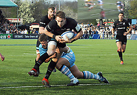 Rugby Union - 2018 / 2019 European Rugby Heineken Champions Cup - Quarter-Final: Saracens vs. Glasgow Warriors<br /> <br /> Liam Williams of Saracens evades a tackle to score his second half try, at Allianz Park.<br /> <br /> COLORSPORT/ANDREW COWIE