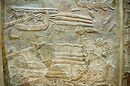 Stone relief sculptured panel of cedar of Lebanon being transported. From the northern courtyard,  Inv AO 19889 from Dur Sharrukin the palace of Assyrian king Sargon II at Khorsabad, 713-706 BC.  Louvre Museum Room 4 , Paris .<br /> <br /> If you prefer to buy from our ALAMY PHOTO LIBRARY  Collection visit : https://www.alamy.com/portfolio/paul-williams-funkystock/ancient-assyria-antiquities.html  Refine search by adding background colour, place, subject, museum etc into the LOWER SEARCH WITHIN GALLERY box to <br /> <br /> Visit our ANCIENT WORLD PHOTO COLLECTIONS for more photos to download or buy as wall art prints https://funkystock.photoshelter.com/gallery-collection/Ancient-World-Art-Antiquities-Historic-Sites-Pictures-Images-of/C00006u26yqSkDOM