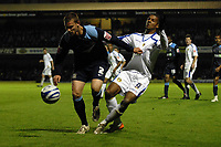 Simon Francis (Southend United) pulls the shirt of Jermaine Beckford (Leeds). Southend United Vs Leeds United.Coca Cola League 1. Roots Hall. Southend. 28/10/08 Credit Colorsport/Garry Bowden