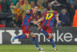 03-05-2011 VOETBAL: SEMI FINAL CL  FC BARCELONA - REAL MADRID: BARCELONA<br /> David Villa and Pedro Rodriguez celebrate goal <br /> *** NETHERLANDS ONLY***<br /> ©2011-FH.nl- EXPA/ Alterphotos/ Acero