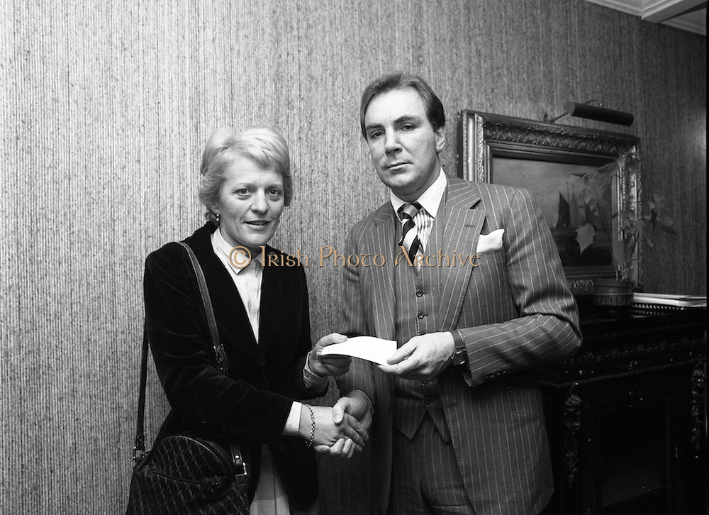 07/11/1982<br /> 11/07/1982<br /> 07 November 1982<br /> Fitzwilton Limited, Annual General Meeting at the Berkeley Court Hotel, Dublin. Picture shows Dr. A.J.F. (Tony) O'Reilly, Chairman on right.