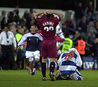 Photo: Greig Cowie<br /> QPR v Oldham. Nationwide League Division 2 Play-off Semi final 2nd Leg 14/05/2003<br /> Agony and ecstasy as the Qpr players celebrate and the Oldham players hang their heads