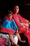 MEXICO, MAYAN, CHIAPAS Zinacantán; Tzotzil mother, child