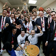 Anadolu Efes's players celebrate victory during their Royal Hali Gaziantep Turkey Cup Final match Anadolu Efes between Fenerbahce Ulker at Karatas Sahinbey Arena in Gaziantep Turkey on Sunday 22 February 2015. Photo by Aykut AKICI/TURKPIX