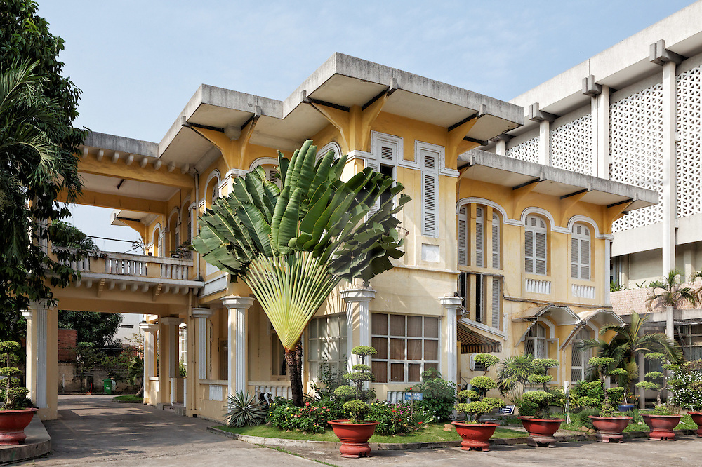 Exterior of Old French Colonial house in Ho Chi Minh City, Vietnam, Southeast Asia