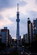 A view of the tv tower under construction in Tokyo, Japan.