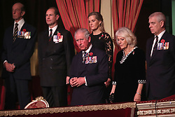 Earl of Wessex, Sophie, Countess of Wessex, Prince of Wales, Duchess of Cornwall and the Duke of York, during the annual Royal British Legion Festival of Remembrance at the Royal Albert Hall in London, which commemorates and honours all those who have lost their lives in conflicts.