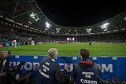 London, Great Britain,  General View, of the photograper's area, during the warm up and the National Anthems.   France vs Romania. 2015 Rugby World Cup, Pool D, venue. The Stadium Queen Elizabeth Olympic Park. Stratford. East London. England,, Wednesday  23/09/2015. <br /> [Mandatory Credit; Peter Spurrier/Intersport-images]
