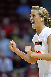 28 September 2008: Mallory Leggett clinches her fists and  reacts after the Redbirds score a point. The Braves took the first set, but the Illinois State Redbirds grabbed 3 sets in a row to win the match 3 sets to 1. The Bradley Braves visited the Illinois State Redbirds at Redbird Arena on the campus of Illinois State University in Normal Illinois.