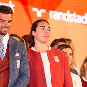 NLD/Scheveningen/20160713 - Perspresentatie sporters voor de Olympische Spelen 2016 in Rio de Janeiro, Eelco Sintnicolaas en Nouscka Fontijn